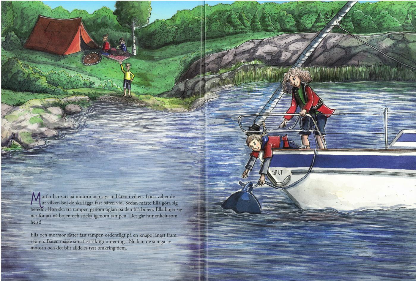 Uppslag från nya boken Mormor och morfar är seglare